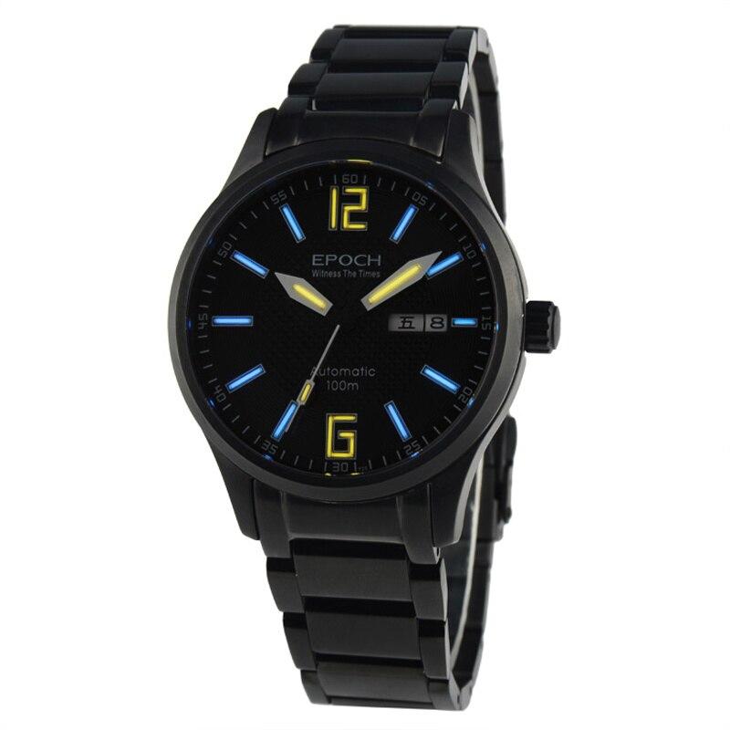 EPOCH 7012G bracelet en acier étanche 100 m tritium gaz numérique nombre échelle lumineux hommes d'affaires automatique montre mécanique