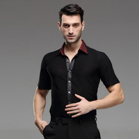 black mens latin shirts dance top mens ballroom dancewear men's latin dance costumes stage clothing for men ballroom clothes