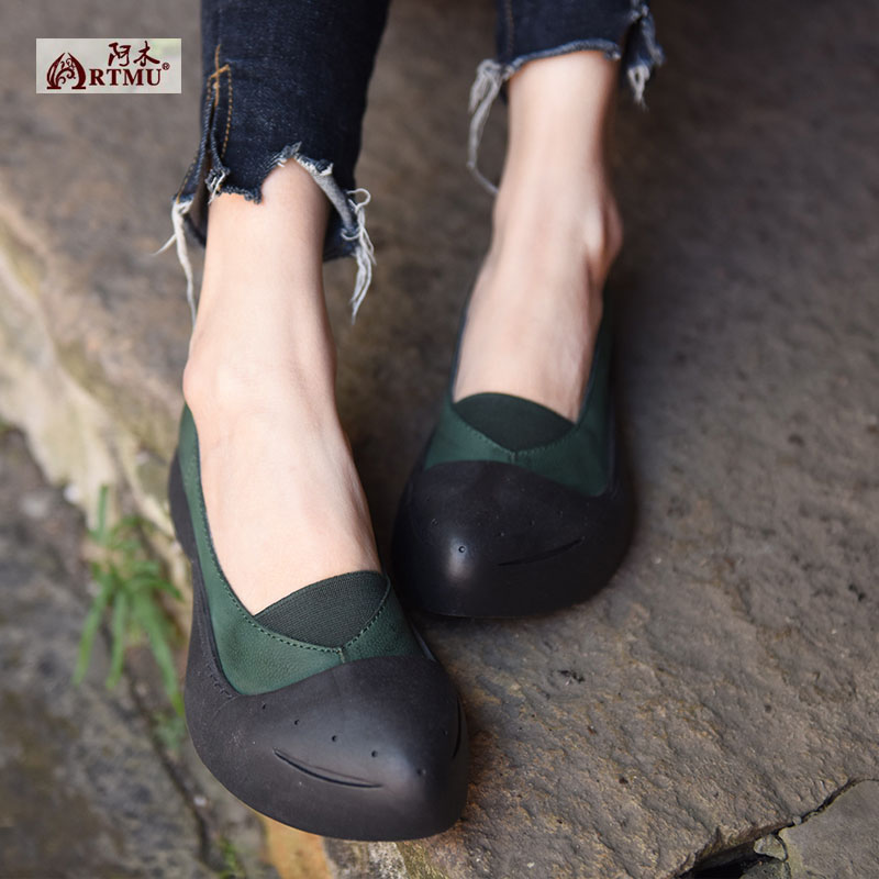Original 2017 New Retro Personality Pointed Toe Shoes Shallow Mouth Genuine Leather Flat Women Shoes 61005 universe women s shoes genuine leather wedges shallow mouth pointed toe buckle strap e073