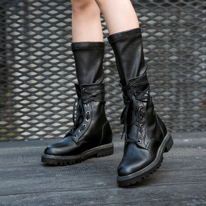 Image 5 - MORAZORA 2020 חדש אופנה חורף צבאי מגפי נשים אמיתי עור תחרה עד zip פאנק פלטפורמת נעלי אישה אמצע עגל מגפיים