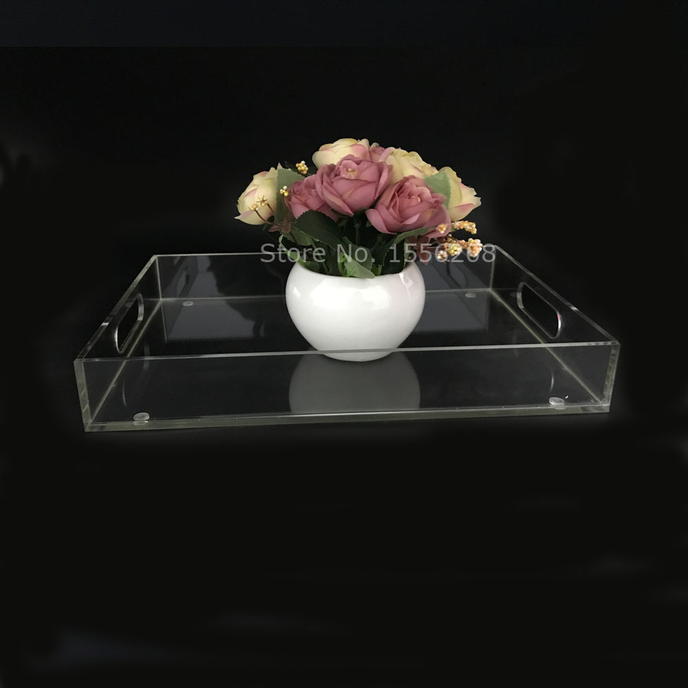 Fashion Clear Acrylic Tea Tray And Coffee Table Tray Breakfast Tray For Home Storage Holder coffee table