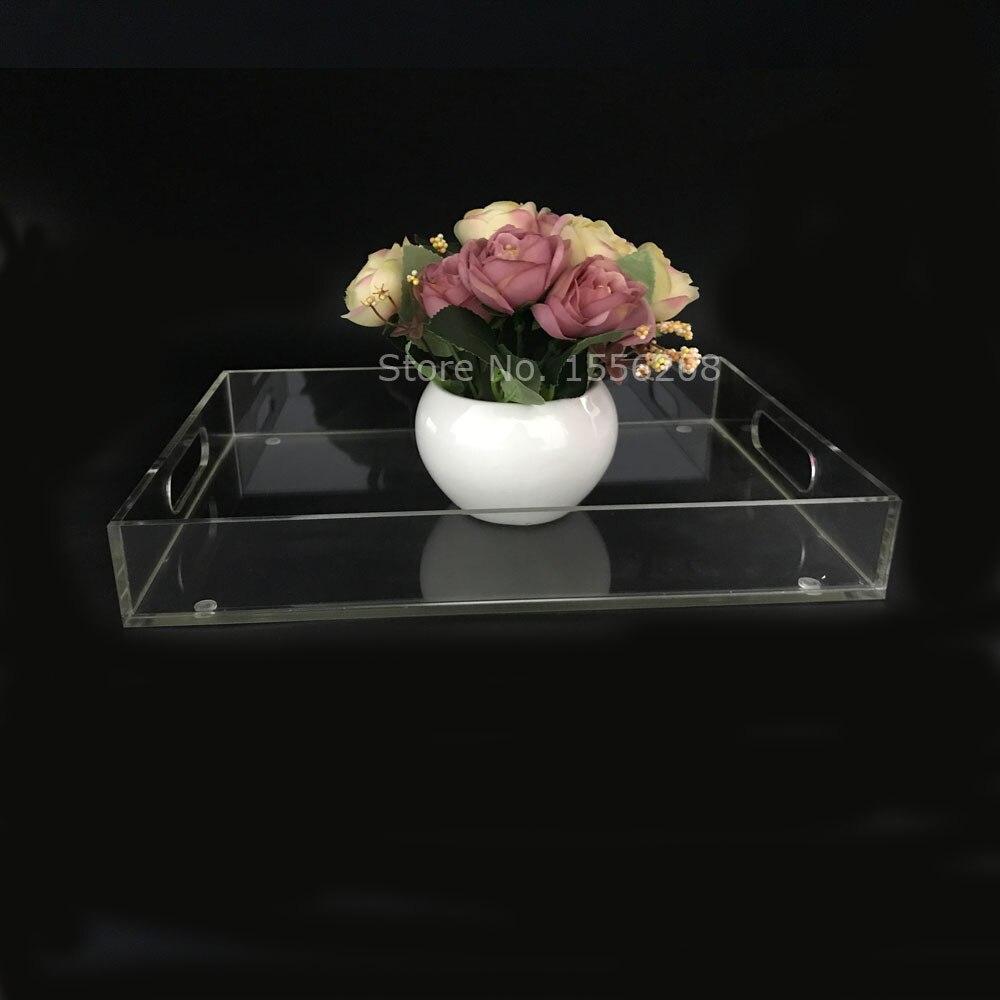 Plateau de thé acrylique clair de mode et plateau de Table basse plateau de petit déjeuner pour le support de stockage à la maison