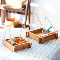 Creative Bamboo Storage Trays With Woven Handle Breads Fruits Storage Baskets Eco Square Serving Trays Kitchen