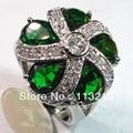 Мода перидот кубического циркония круглый модный ювелирные изделия посеребренная кольцо vR384 sz #6 7 8 9