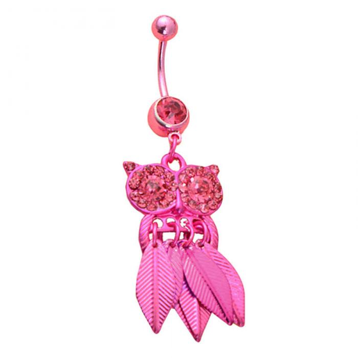 HTB1bOqzPpXXXXXSapXXq6xXFXXX5 Belly Button Piercing Jewelry Crystal Owl Dangle Belly Button Ring For Women - 4 Colors