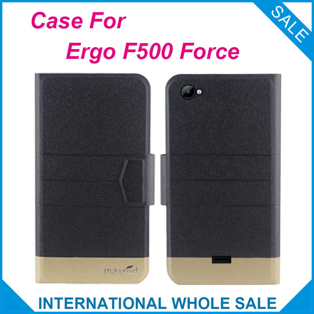 Hot! Ergo F500 Force Case, 5 Colors Fashion Business Magnetic clasp High quality Flip Leather Exclusive Case For F500 Force Ergo