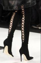 Hot Sexy Purple/Black Flock   Pointed Toe Over-the-knee Boots Lace-up  Fashion Cross-Tied Stiletto 10.5cm Women's Shoes pointed toe lace flowers cross strap over the knee long boots black red lace stiletto heel sox boots see through sexy shoes