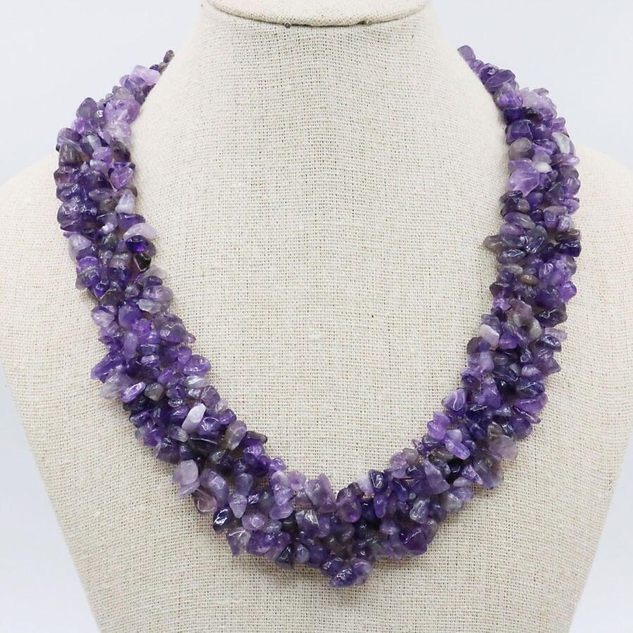 Natural Alexandrite Necklace: Natural Purple Alexandrite Irregular 3Rows Necklace Chain