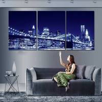 3 Panel Modern Painting Home Decorative Art Picture Paint On Canvas Prints Light Bright Beautiful Night