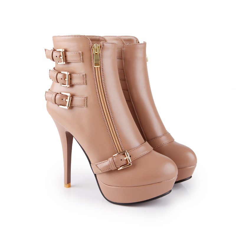 Brand New Hot Sales Black Beige Apricot Super High Heels Women Ankle Boots Ladies Winter Shoes Buckle AB-9 Durable Sole brand new hot sales women nude ankle boots red black buckle ladies riding spike shoes high heels emb08 plus big size 32 45 11