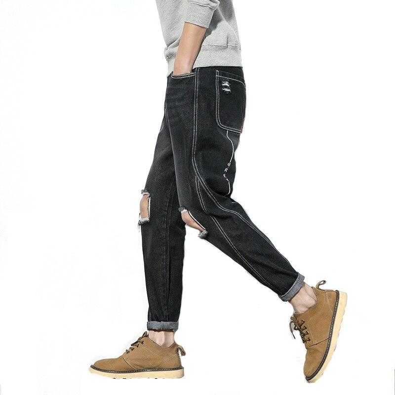 Envmenst 2017 Hi-Street Men's Blue Patch Denim Pants Famous Brand Designer Loose Harem Black Men's Distressed Jeans