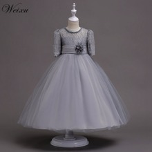 цены Weixu Girl Flower Lace Princess Wedding Party Dresses Kids Evening Ball Gowns Formal Clothes for Girls 5 8 10 12 14 16 Years Old