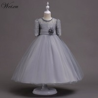 Weixu Girl Flower Lace Princess Wedding Party Dresses Kids Evening Ball Gowns Formal Clothes for Girls 5 8 10 12 14 16 Years Old