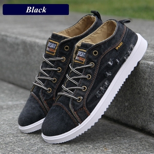 Image 3 - Fashion Denim Man Canvas Shoes Men Shoes Casual High Top Sneakers 2019 Summer Breathable Plimsolls Male Footwear Mens Flats