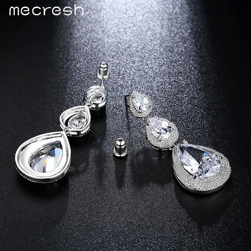 Mecresh Schwarz/Silber Farbe CZ Braut Hängen Ohrringe für Frauen 2018 Hochzeit Party Lange Tropfen Brincos Weihnachten Schmuck EH686