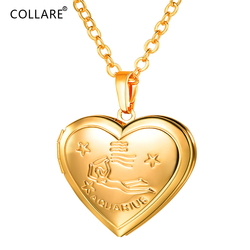 Collare Aquarius Pendants Heart Photo Locket Gold/Silver Color Constellation Jewelry 12 Zodiac Dainty Girls Necklaces Women P902 locket