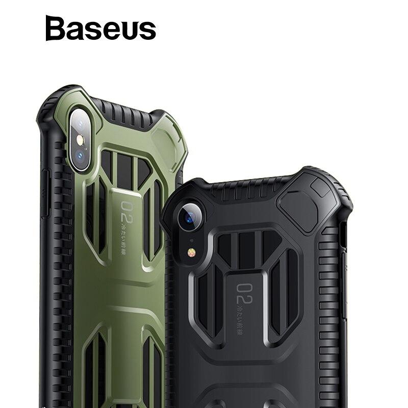 Baseus militar armadura caso para iPhone Xs Max XR 2018 de silicona suave de plástico + caja del teléfono híbrido para iPhone xs Max cubierta