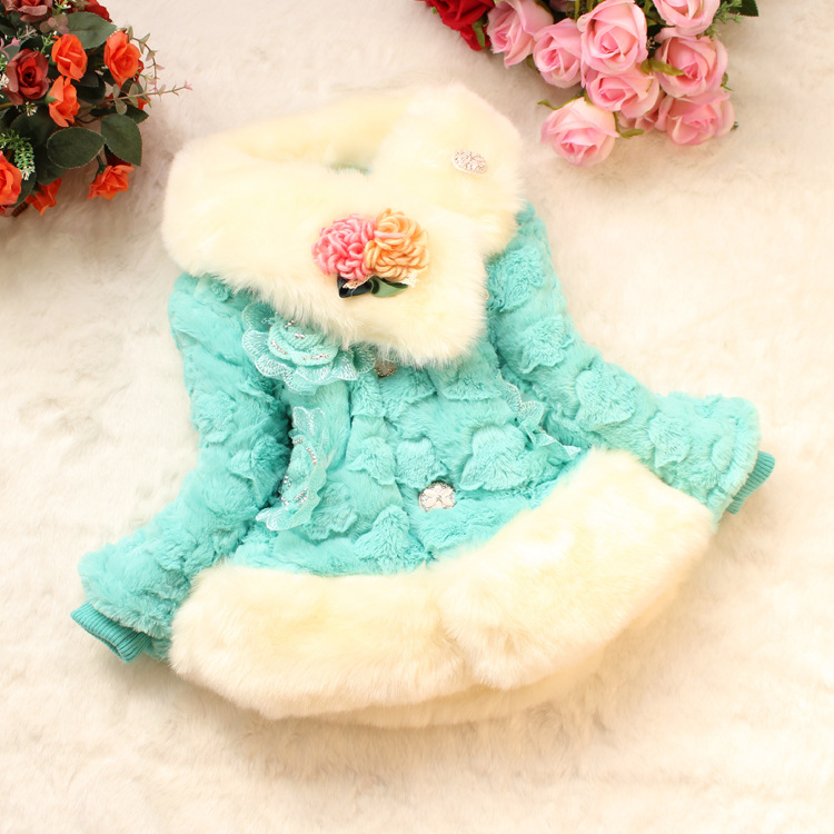 Fashion Leopard Baby outerwear & coat Kids Girls Faux Fur Fleece Fashion Floral Party Coat Winter Warm Scarf Parkas Princess sherpa fleece faux suede coat