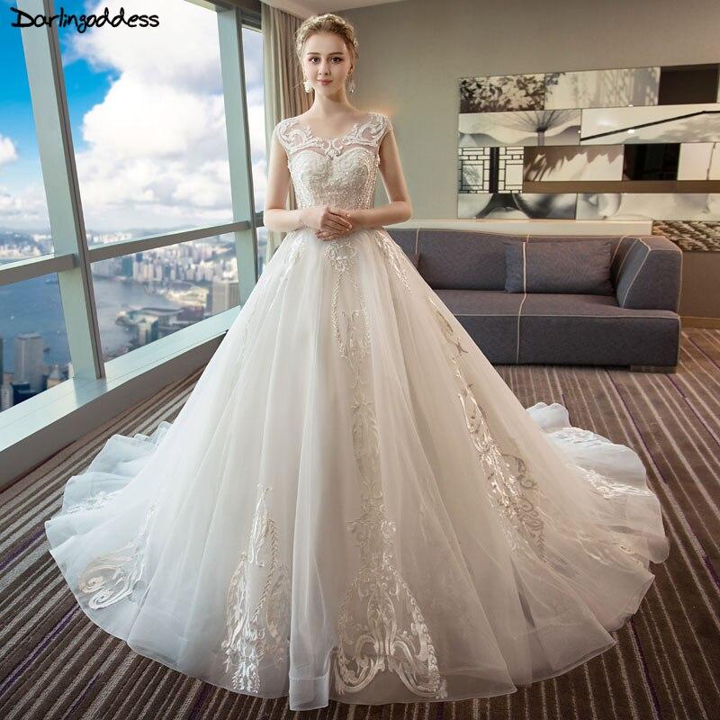 Robe De Mariage De luxe cristal Robe De mariée 2018 grande taille Vintage dentelle Robe De mariée taille personnalisée Casamento Vestido De Novia