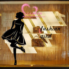 Supermarket Shopping Girl clothing store coffee tea cake shop background decorative wall stickers affixed window glass(China)