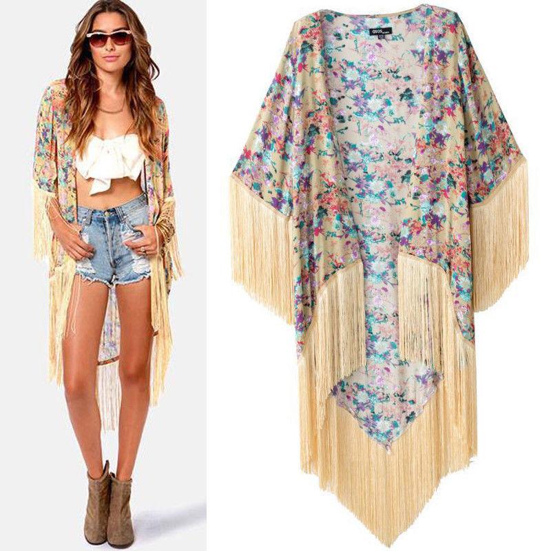 Luxury Women's Loose Blazer Floral Fringe Kimono Cardigan Blouse ...