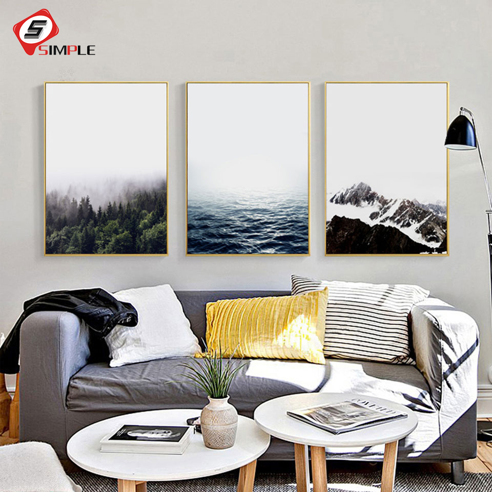Landscape Posters Prints Nordic Seascape Canvas Painting Modern Wall ...