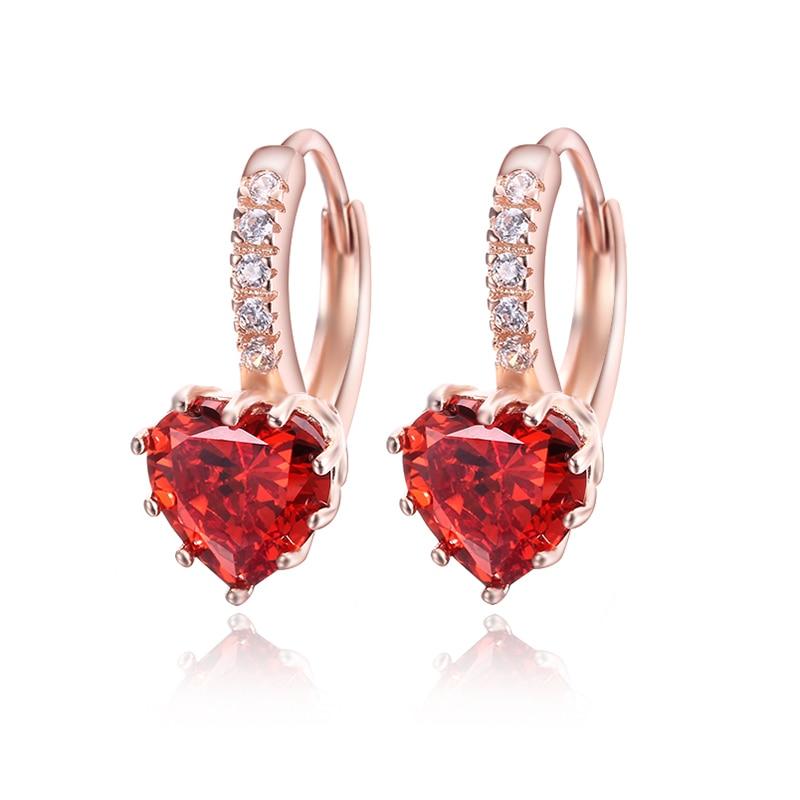 Kadın küpe aşk kalp saplama küpe kırmızı kristal CZ ince 925 - Kostüm mücevherat - Fotoğraf 6