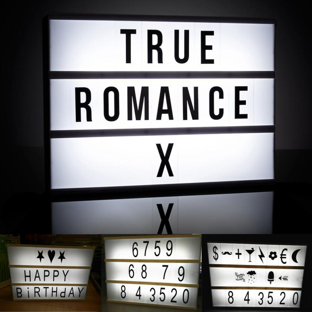 3 Line A4 Size LED Cinema Light Box Energized Mode Cinematic Lightbox Letter Number Combination Puzzle