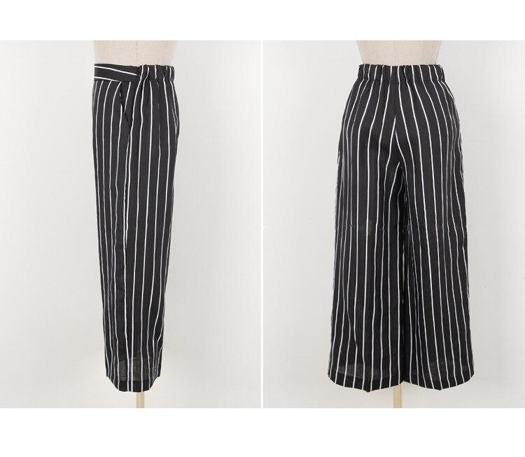 2018 Korean Summer Temperament Sleeveless Two Piece Set Stripe Fashion Wide Legging 2 Piece Set Women 14
