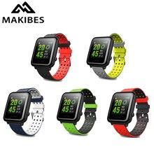 20mm Universal Silikon Uhr Band Doppel-farbe Riemen Runde Loch für Xiaomi Amazfit Bip für WeLoop hey 3s für Ticwatch2/T3/GTS