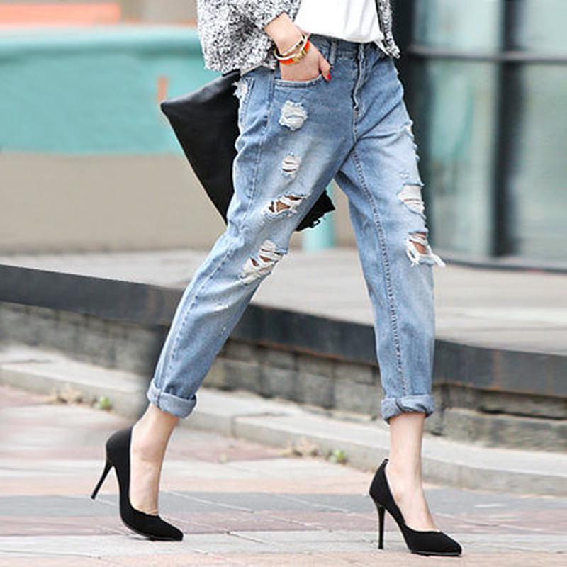 цены Olrain Women Boyfriend Hole Ripped Jeans Women Fashion Harem Pants Slim Denim Pencil Pants Plus Size Loose Beggar Jeans-BK0903