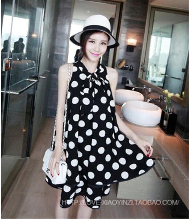 Maternity 2018 Summer New Chiffon Sleeveless Dot Knee Dress for Pregnant Women Nursing Maternity Dresses Hot