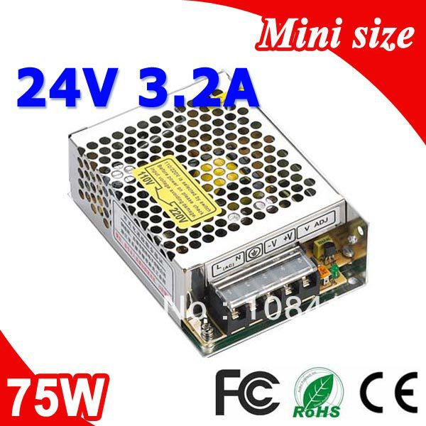 MS-75-24 75W Impulse Power Block  Mean Well LED Power Supply Switch 24V 3.2A Adapter Transformer 110V 220V AC to DC Output Power