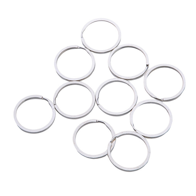 30pcs Wholesale Rhodium Plated Round Metal Split Key Rings 30mm For Key Chains Making 160619