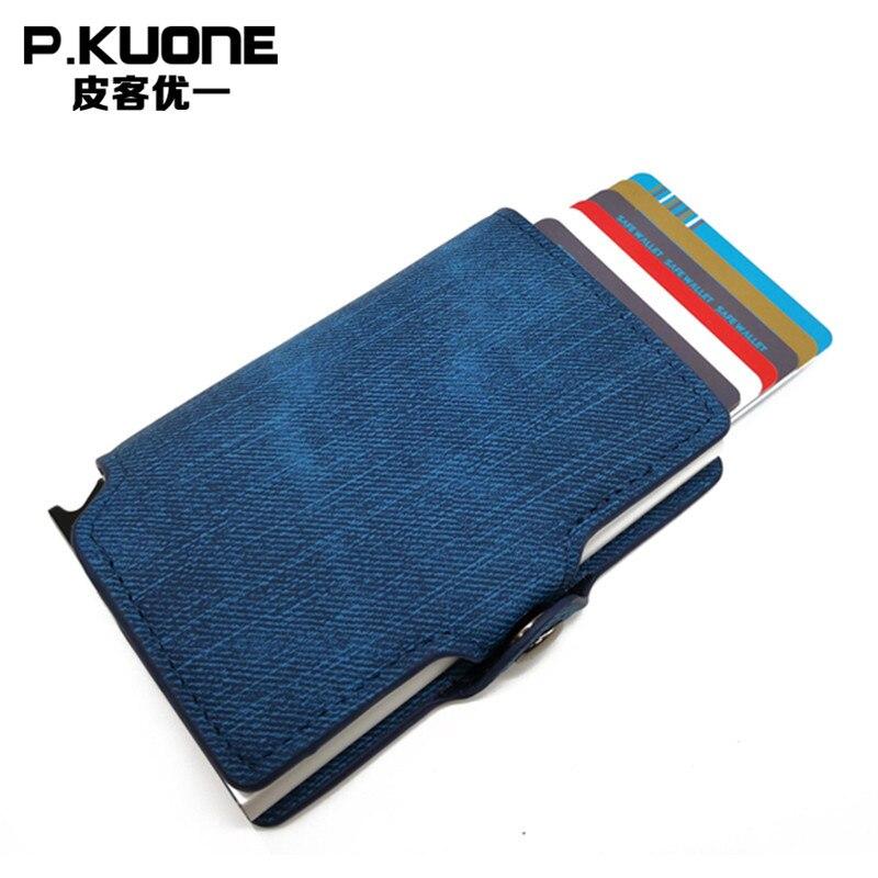 P. KUONE Cowboy rayure Pu cuir Designer haute qualité affaires hommes et femmes porte-carte de crédit en Aluminium portefeuille de voyage