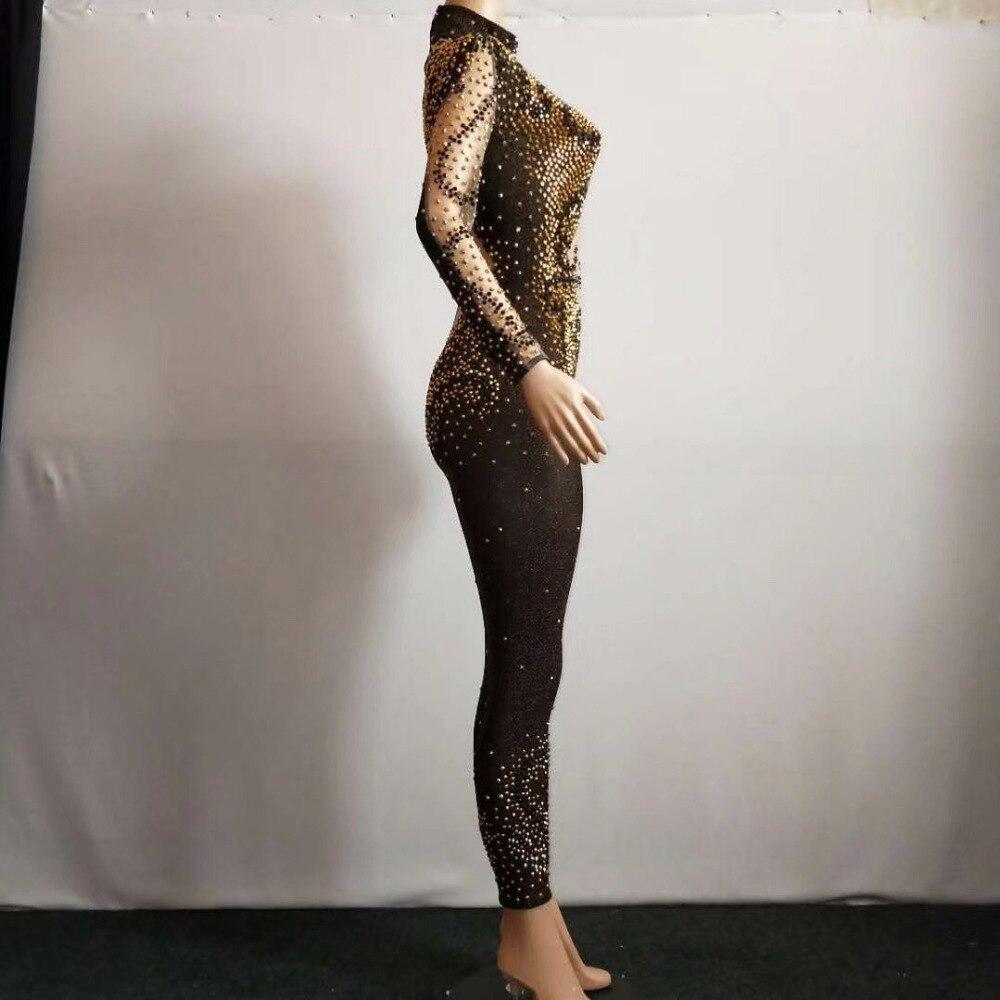 Luxueux Argent Célébrer Travers Body Salopette À Maille Costume Jumpsuit Voir Stade Gland Sexy Strass Femmes Brillant qIpv4Rwv