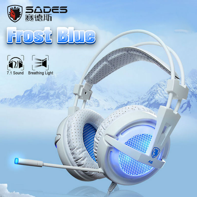 Sades A6 Gaming headphones with microphone breathing lights for computer games