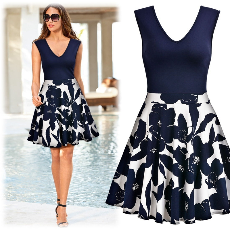 Women Elegant Vintage Print Casual Party  Dress  1