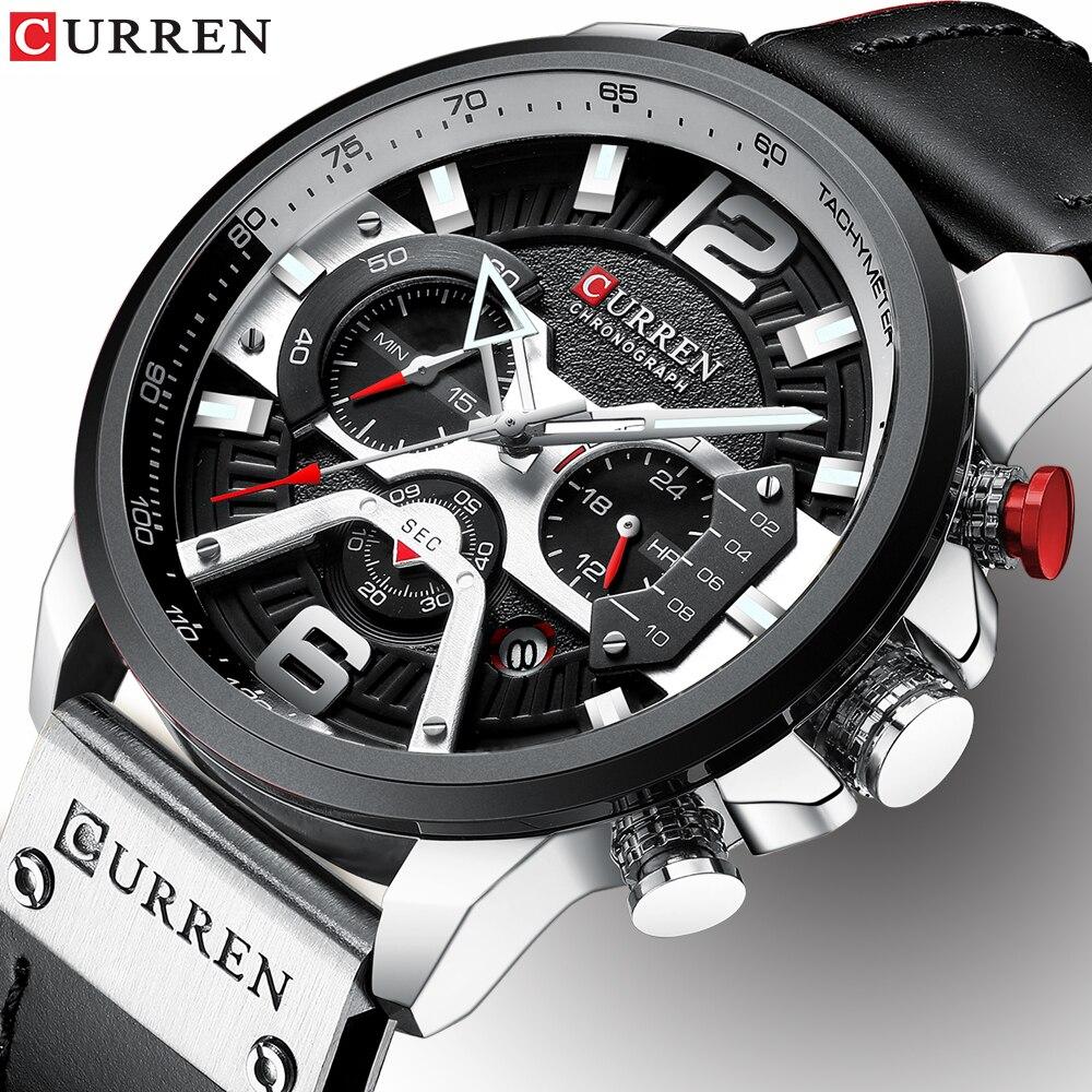 Herren Sport Uhren Militär Armee Mode Leder Armbanduhr Leder Quarzuhr erkek saat