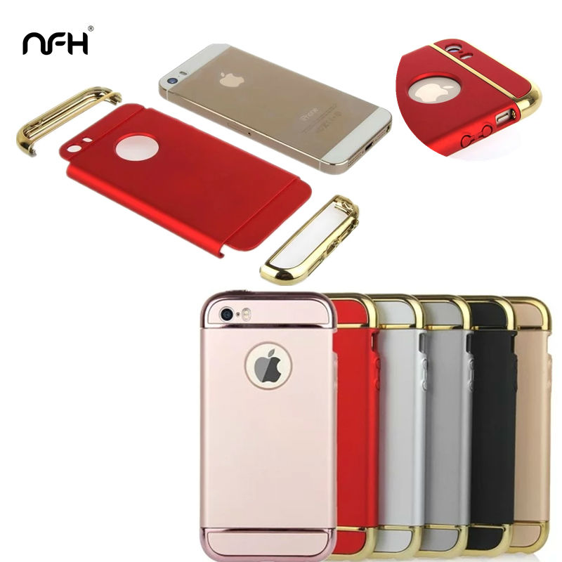 Luxury Electroplating Hard PC Cover Celular For Apple iPhone 5 6 6Plus 7 7Plus 3 In 1 Silicone Back Cover Case On 5S SE 6S Plus