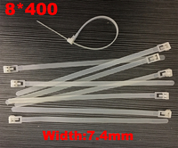 100pcs 8x400 8*400mm (7.4mm Width) White Nylon66 Network Electric Wire String Zip Fastener Plastic Relesable Reusable Cable Tie