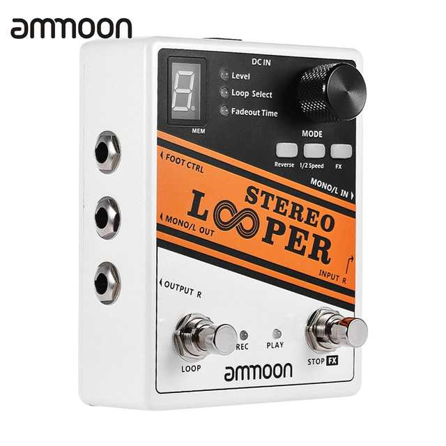 ammoon STEREO LOOPER Loop Record Guitar Effect Pedal 10 Independent Loops  Max  10min Recording Time