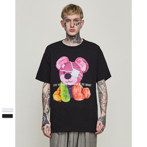 Men Women Tshirt Kanye West Fun cartoon bear print Harajuku Hip Hop Cotton boyfriend oversized streetwear top funny t shirt