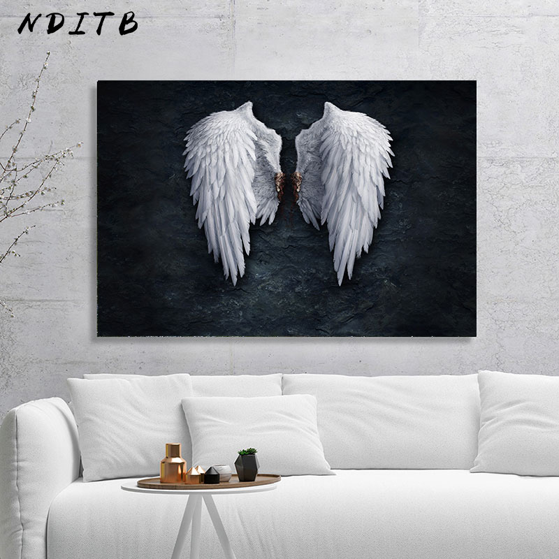 White Angel Wings Picture Canvas Fashion Poster Nordic Style Abstract Wall Art Canvas Print Painting Modern Living Room Decor