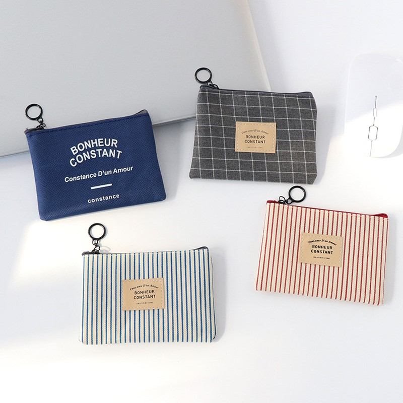 1PC Unisex Canvas Purse Card Key Mini Purse Pouch Canvas Bag Small Zipper Coin Purse Card Holder Wallet Four Colors Available(China)