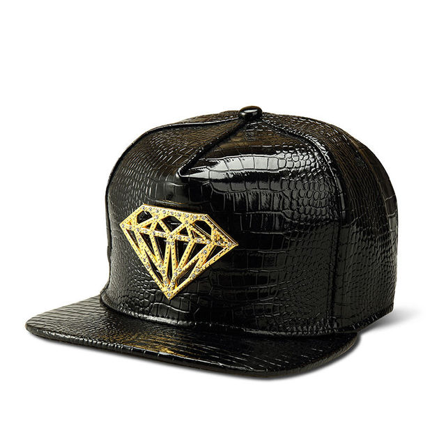 2016 Black SIlver Crocodile PU Hat Vogue Golden Diamond Logo Hip Hop Baseball Hat Adult Street DJ Dance 5 Panel Men Women Hat