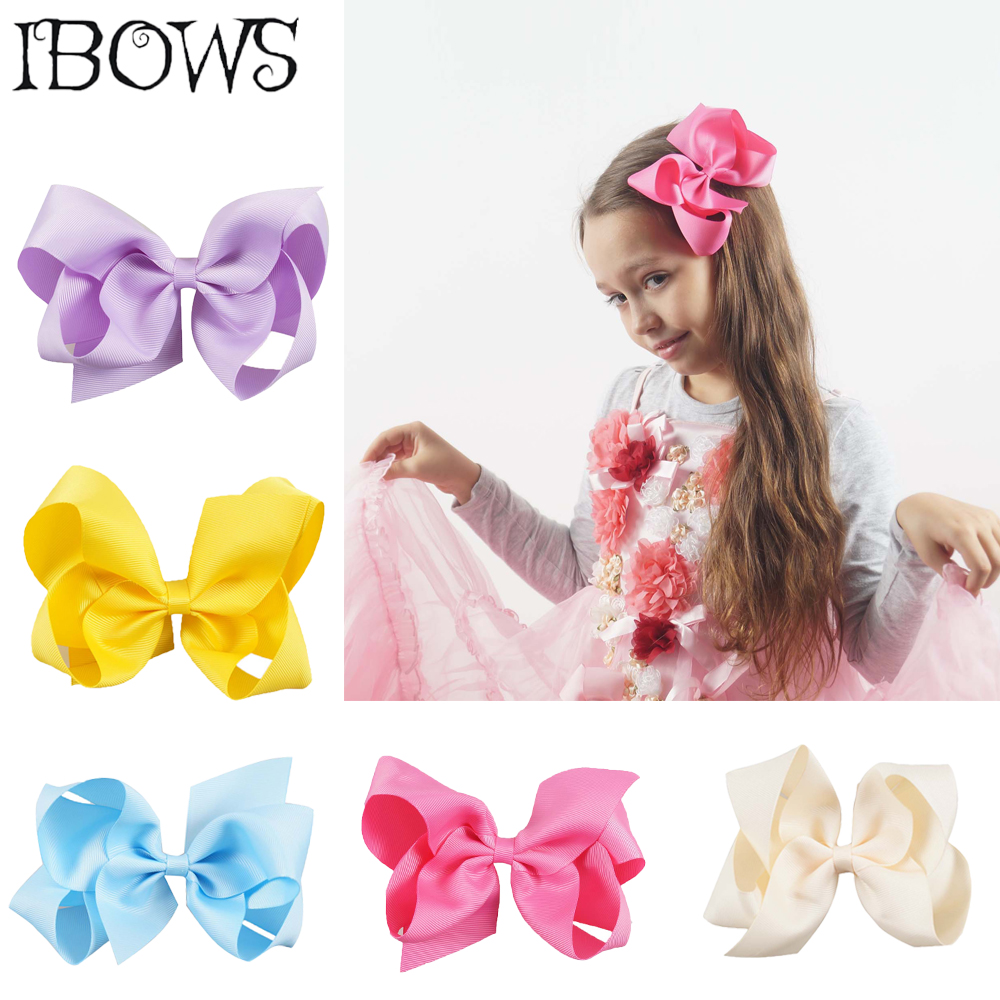2Pcs/Lot 6'' Solid Hair Bows With Alligator Hair Clips For Kids Hairpins Girls Handmade Headwear Hair Accessories