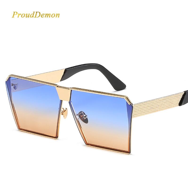 Modemarke Designer Platz Flache linse Sonnenbrille Spiegel Frauen - Bekleidungszubehör - Foto 4