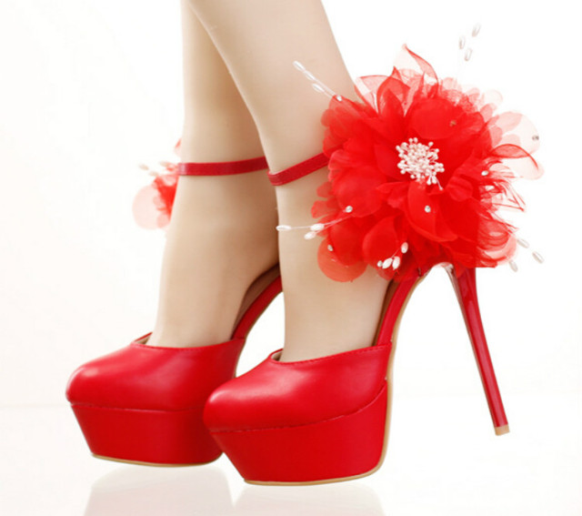 Rode trouwschoenen hoge met waterdichte Taiwan kwastje bloem kristal strass bruids schoenen kant jurk schoenen sandalen ronde