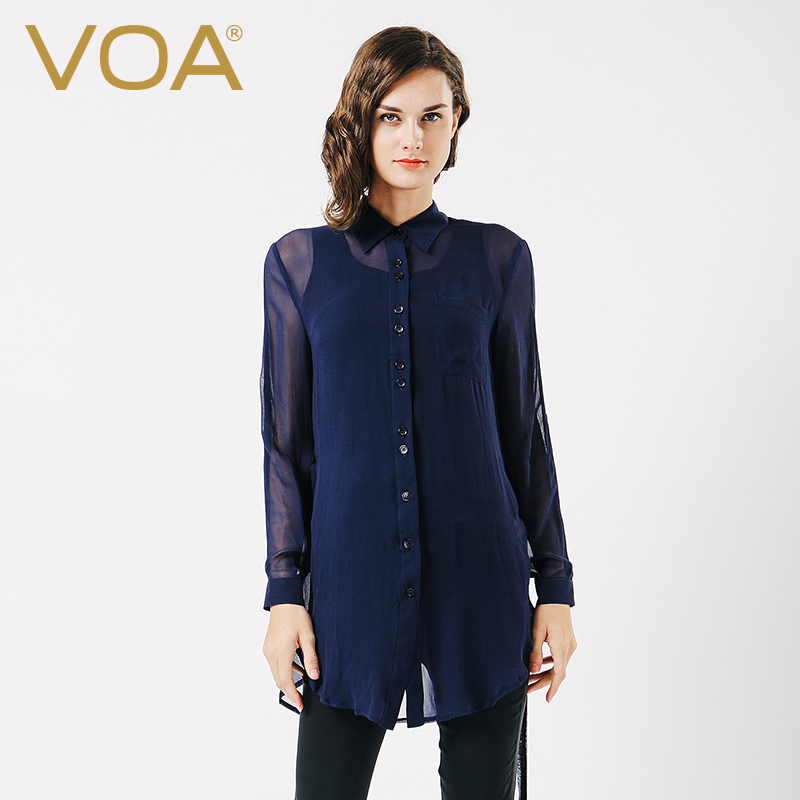 Womans Solid Navy Blouse Black Dressy Blouses